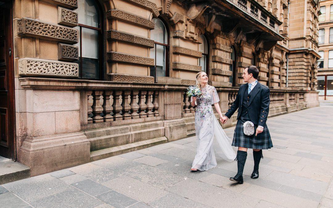 Samantha & Alastair's intimate Wedding in Glasgow City